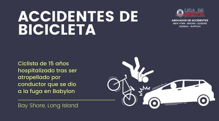 Mujer atropella a bicicleta y se da a la fuga en Bay Shore, Long Island.